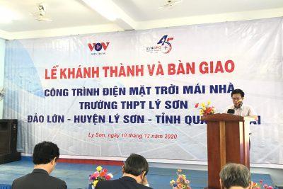 Lễ khánh thành bàn giao hệ thống điện mặt trời trên mái nhà cho Trường THPT Lý Sơn